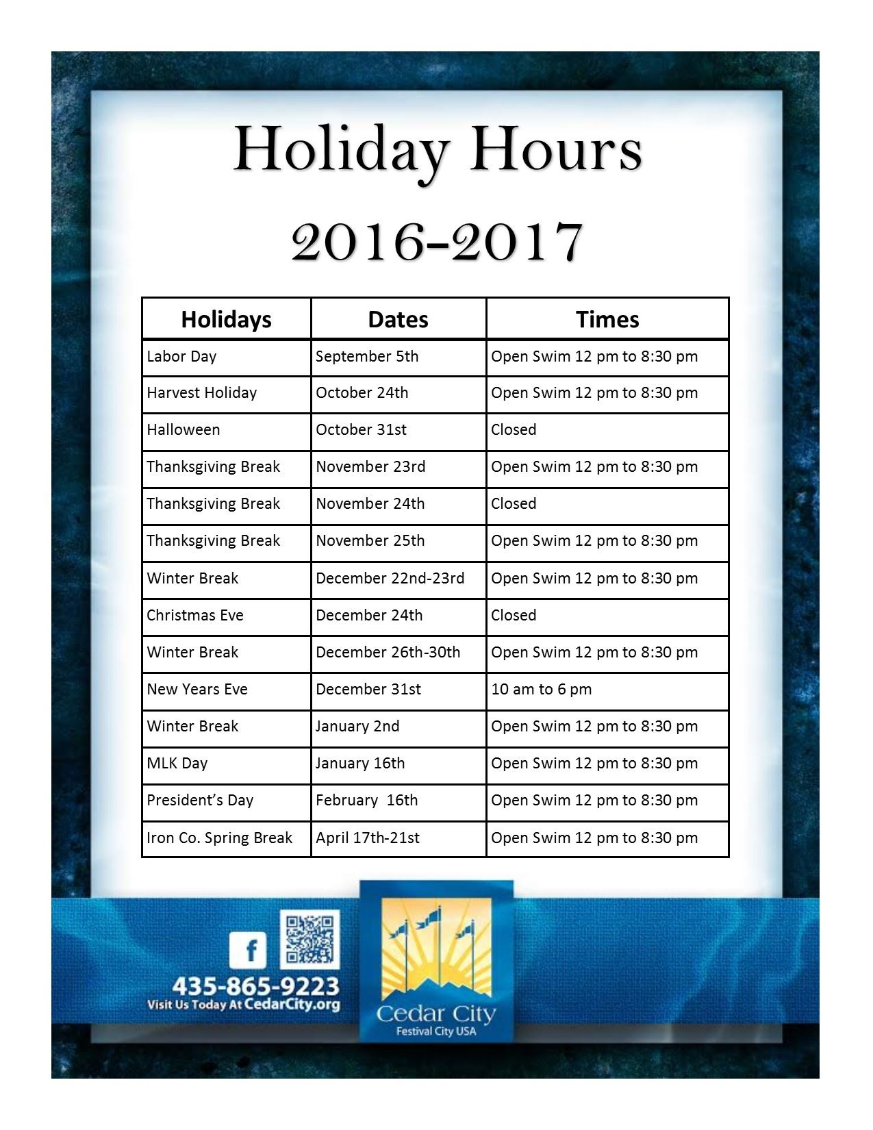 Holiday Hours 16-17
