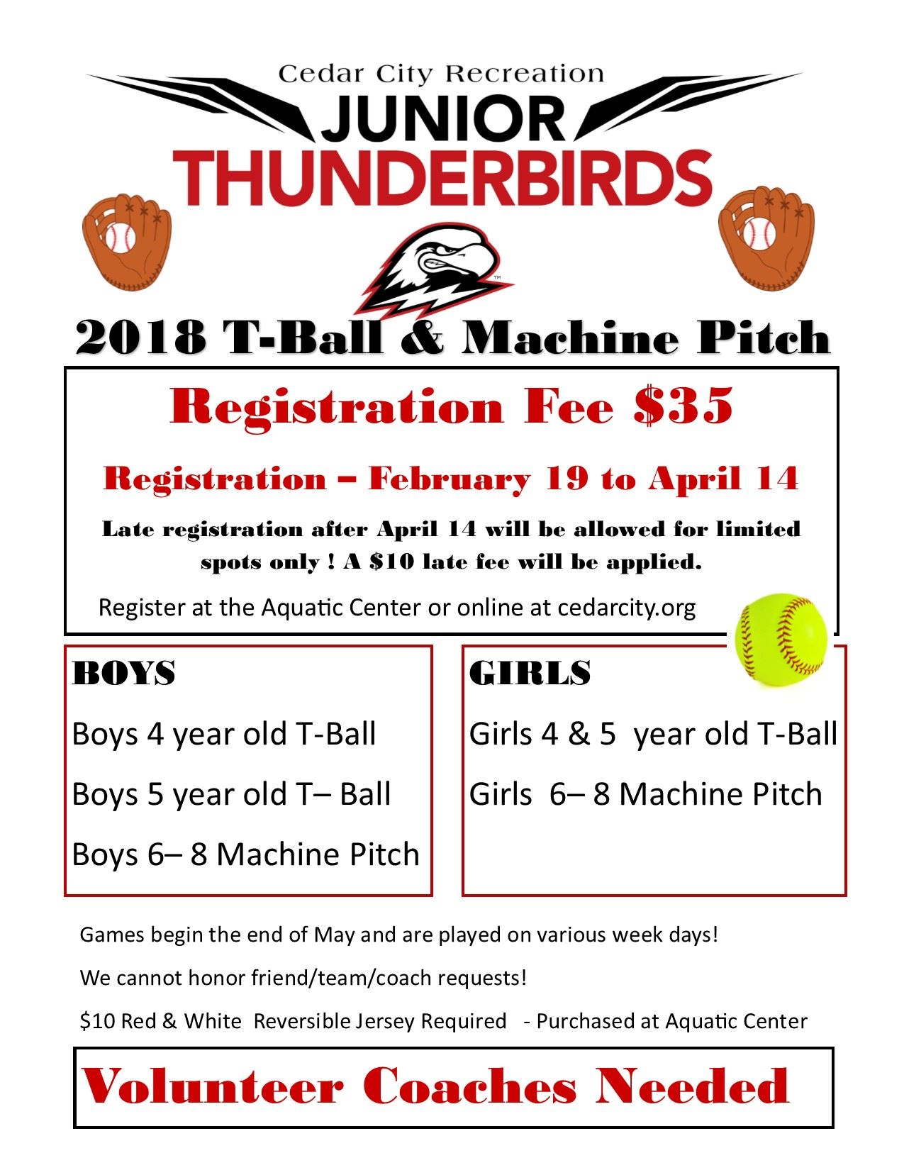 2018 Youth T- Ball Machine Pitch FLYER